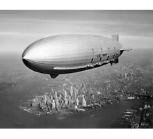 Airship Flying Over New York City Photographic Print