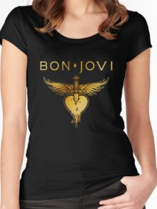 BEST BON JOVI LOGO SWORD HEART Women's Fitted Scoop T-Shirt