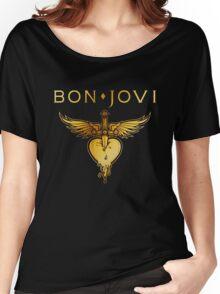 BEST BON JOVI LOGO SWORD HEART Women's Relaxed Fit T-Shirt