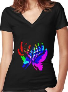 Hands of Creativity Women's Fitted V-Neck T-Shirt