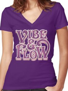 Vibe & Flow Women's Fitted V-Neck T-Shirt