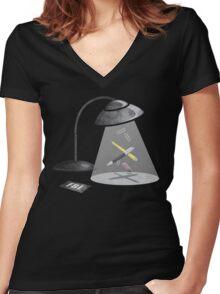 Desktop Abduction Women's Fitted V-Neck T-Shirt