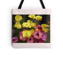 Floral Drawstring Tote - Wild Flowers Tote Bag