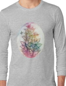 Rainbow Colored Butterfly Sketch Drawing Long Sleeve T-Shirt