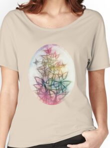 Rainbow Colored Butterfly Sketch Drawing Women's Relaxed Fit T-Shirt