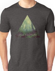 road less traveled nature explore travel redwood book wanderlust print Unisex T-Shirt