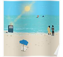 Dr. Who Tardis on a Sunny Beach Poster