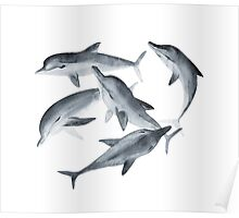Dolphins. Watercolor illustration. Poster