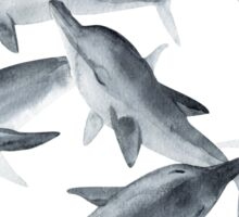 Dolphins. Watercolor illustration. Sticker