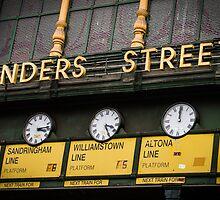 Clocks - Flinders Street - Melbourne by Maciej Nadstazik