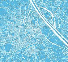 Vienna map blue by mapsart