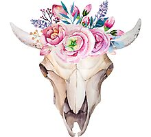 Bull skull with floral crown Photographic Print