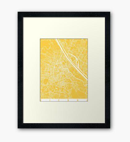 Vienna map yellow Framed Print
