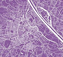 Vienna map lilac by mapsart