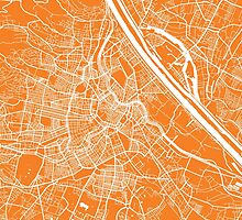 Vienna map orange by mapsart