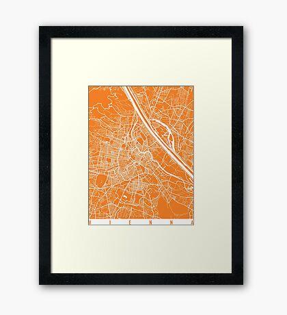 Vienna map orange Framed Print