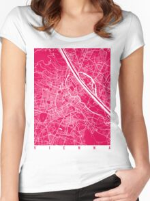 Vienna map raspberry Women's Fitted Scoop T-Shirt