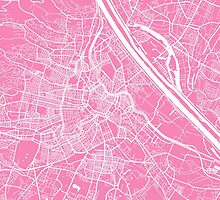 Vienna map pink by mapsart