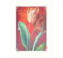 Mother's Day Greetings Red and Yellow Tulips Art Print