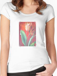 Mother's Day Greetings Red and Yellow Tulips Women's Fitted Scoop T-Shirt