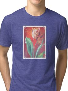 Mother's Day Greetings Red and Yellow Tulips Tri-blend T-Shirt