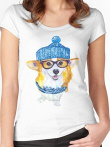 the corgi dog  Women's Fitted Scoop T-Shirt