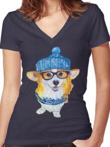the corgi dog  Women's Fitted V-Neck T-Shirt