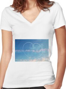 Heart in the sky Women's Fitted V-Neck T-Shirt