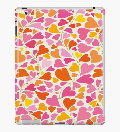 Winding pattern with hearts growing from flower stems. iPad Case/Skin