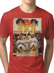 Bearded Collie -  Singin in the Rain Movie Poster Tri-blend T-Shirt