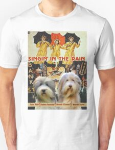 Bearded Collie -  Singin in the Rain Movie Poster T-Shirt
