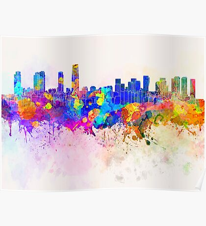 Incheon skyline in watercolor background Poster