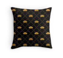 Golden hearts on black. Throw Pillow