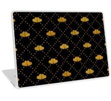 Golden hearts on black. Laptop Skin