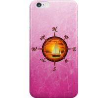 Sailboat And Compass Rose Pink iPhone Case/Skin