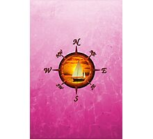 Sailboat And Compass Rose Pink Photographic Print