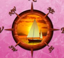 Sailboat And Compass Rose Pink Sticker