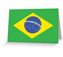 BRAZIL, BRAZILIAN FLAG, FLAG OF BRAZIL, PURE & SIMPLE, Brazil, Football, Olympics, on GREEN Greeting Card
