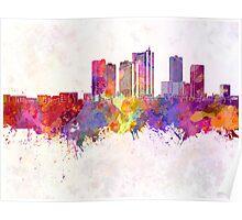 Kawasaki skyline in watercolor background Poster