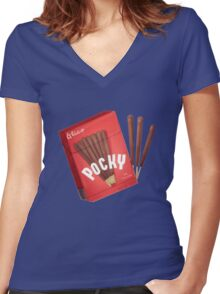 Japanese Pocky - chocolate  Women's Fitted V-Neck T-Shirt
