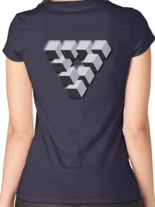 ILLUSION, Optical illusion, visual illusion, wierd, odd, Cube, triangle Women's Fitted Scoop T-Shirt