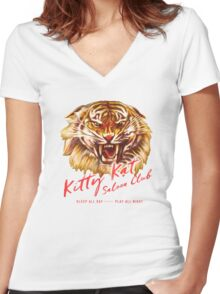 Kitty Kat Saloon Club - Purple Women's Fitted V-Neck T-Shirt