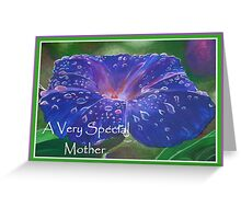 A Very Special Mother Deep Purple Morning Glory Greeting Card