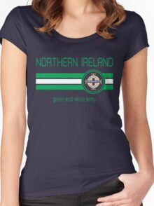 Euro 2016 Football - Northern Ireland (Away Blue) Women's Fitted Scoop T-Shirt