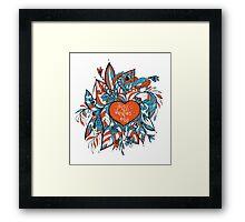 sketchy love and hearts doodles, vector illustration Framed Print