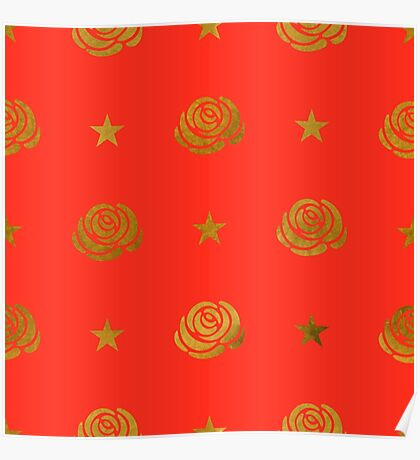 Golden roses on red Poster