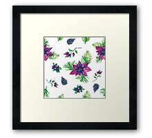 Christmas botanical watercolor pattern Framed Print