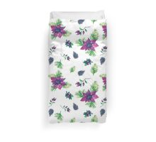 Christmas botanical watercolor pattern Duvet Cover
