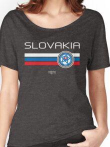 Euro 2016 Football - Slovakia (Away Blue) Women's Relaxed Fit T-Shirt