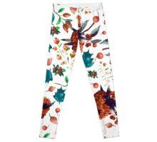 Christmas botanical watercolor pattern Leggings